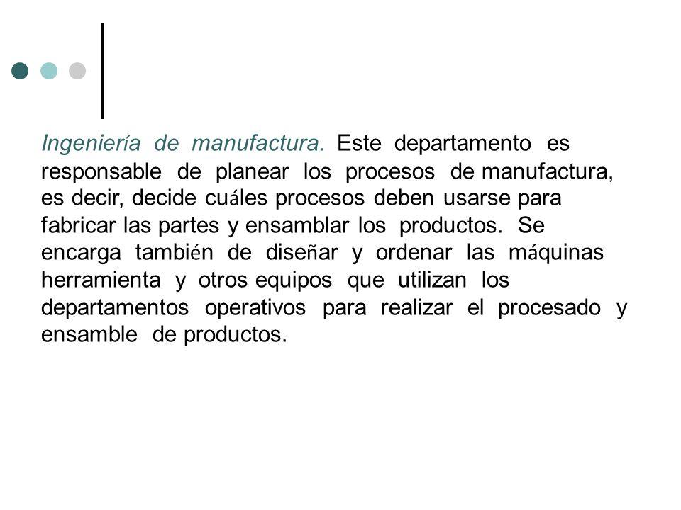 Ingenier í a de manufactura. Este departamento es responsable de planear los procesos de manufactura, es decir, decide cu á les procesos deben usarse
