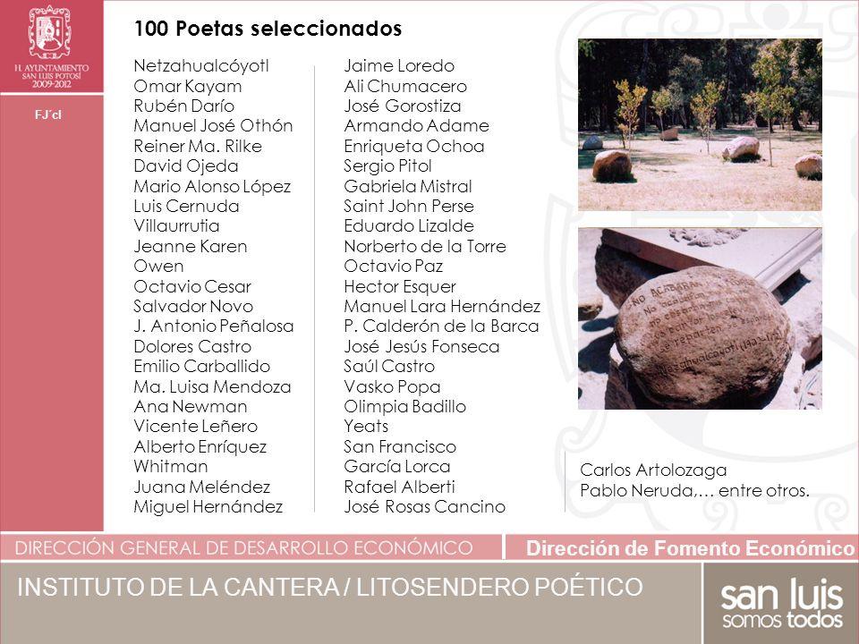 Dirección de Fomento Económico FJ´cl 100 Poetas seleccionados INSTITUTO DE LA CANTERA / LITOSENDERO POÉTICO Netzahualcóyotl Omar Kayam Rubén Darío Manuel José Othón Reiner Ma.