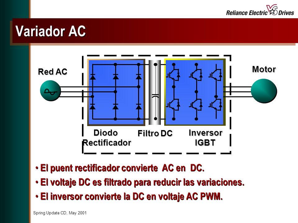 Spring Update CD, May 2001 El puent rectificador convierte AC en DC.