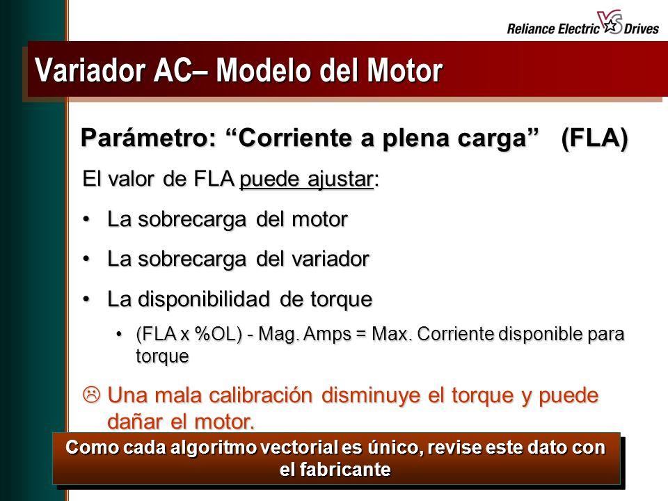Spring Update CD, May 2001 El valor de FLA puede ajustar: La sobrecarga del motorLa sobrecarga del motor La sobrecarga del variadorLa sobrecarga del variador La disponibilidad de torqueLa disponibilidad de torque (FLA x %OL) - Mag.
