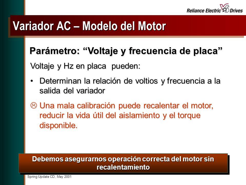 Spring Update CD, May 2001 Voltaje y Hz en placa pueden: Determinan la relación de voltios y frecuencia a la salida del variadorDeterminan la relación de voltios y frecuencia a la salida del variador Una mala calibración puede recalentar el motor, reducir la vida útil del aislamiento y el torque disponible.
