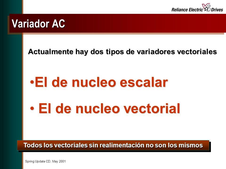 Spring Update CD, May 2001 El de nucleo escalarEl de nucleo escalar Todos los vectoriales sin realimentación no son los mismos Actualmente hay dos tipos de variadores vectoriales El de nucleo vectorial El de nucleo vectorial Variador AC