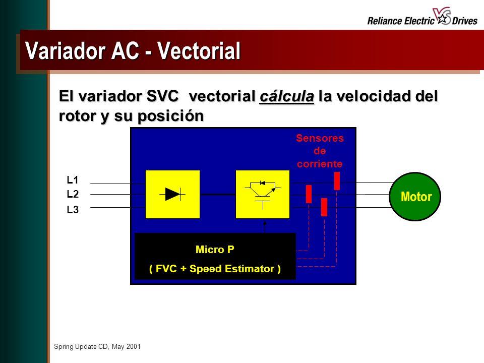 Spring Update CD, May 2001 El variador SVC vectorial cálcula la velocidad del rotor y su posición L1 L2 L3 Motor Sensores de corriente Micro P ( FVC + Speed Estimator ) Variador AC - Vectorial