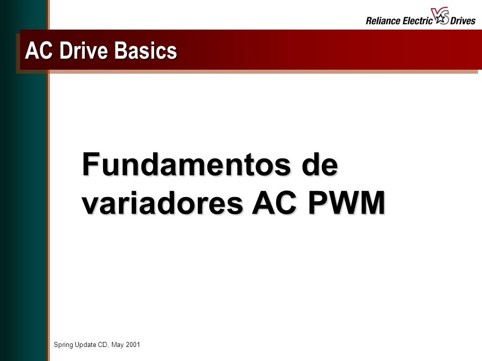 Spring Update CD, May 2001 Fundamentos de variadores AC PWM AC Drive Basics