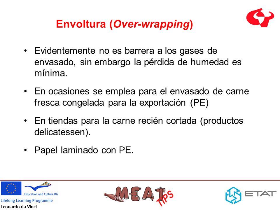 Leonardo da Vinci Envoltura (Over-wrapping) Evidentemente no es barrera a los gases de envasado, sin embargo la pérdida de humedad es mínima. En ocasi