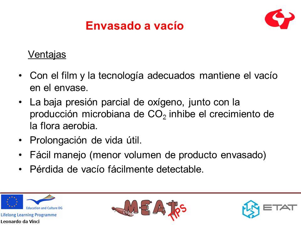 Leonardo da Vinci Envasado a vacío Con el film y la tecnología adecuados mantiene el vacío en el envase. La baja presión parcial de oxígeno, junto con