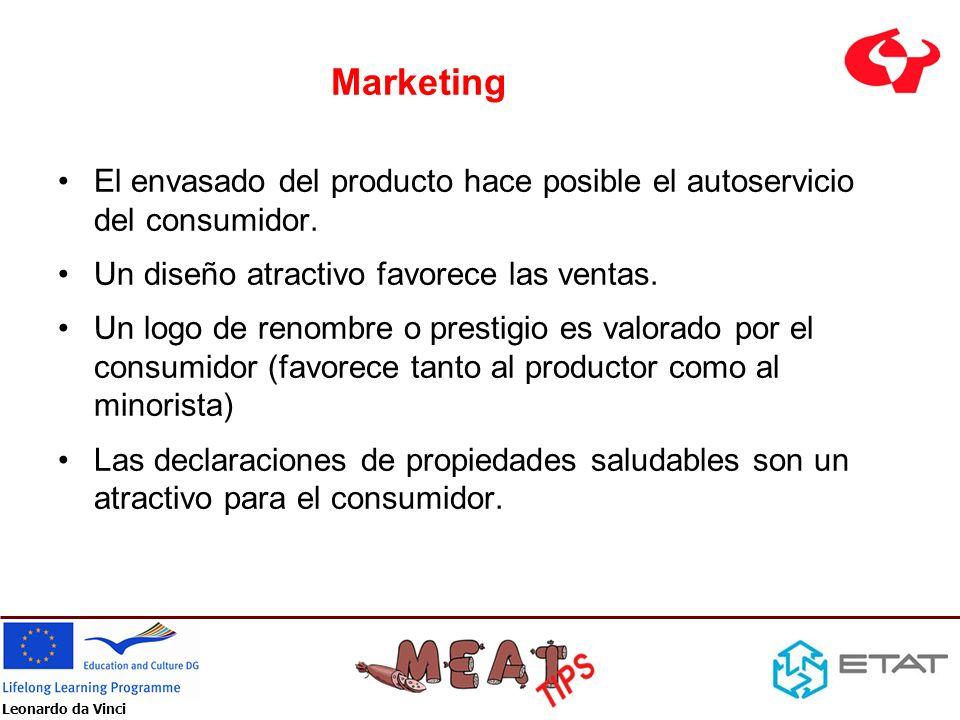 Leonardo da Vinci Marketing El envasado del producto hace posible el autoservicio del consumidor. Un diseño atractivo favorece las ventas. Un logo de