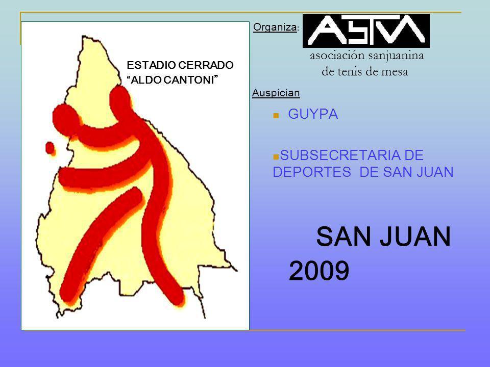 Organiza : asociación sanjuanina de tenis de mesa Auspician GUYPA SUBSECRETARIA DE DEPORTES DE SAN JUAN SAN JUAN 2009 ESTADIO CERRADO ALDO CANTONI