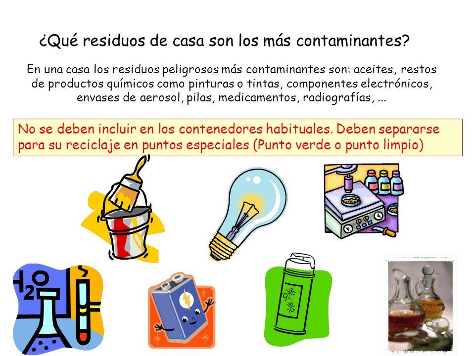 ¿Qué residuos de casa son los más contaminantes? No se deben incluir en los contenedores habituales. Deben separarse para su reciclaje en puntos espec