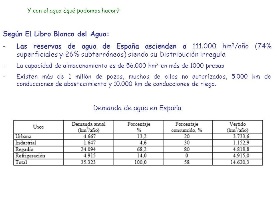 Según El Libro Blanco del Agua: -Las reservas de agua de España ascienden a 111.000 hm 3 /año (74% superficiales y 26% subterráneos) siendo su Distrib