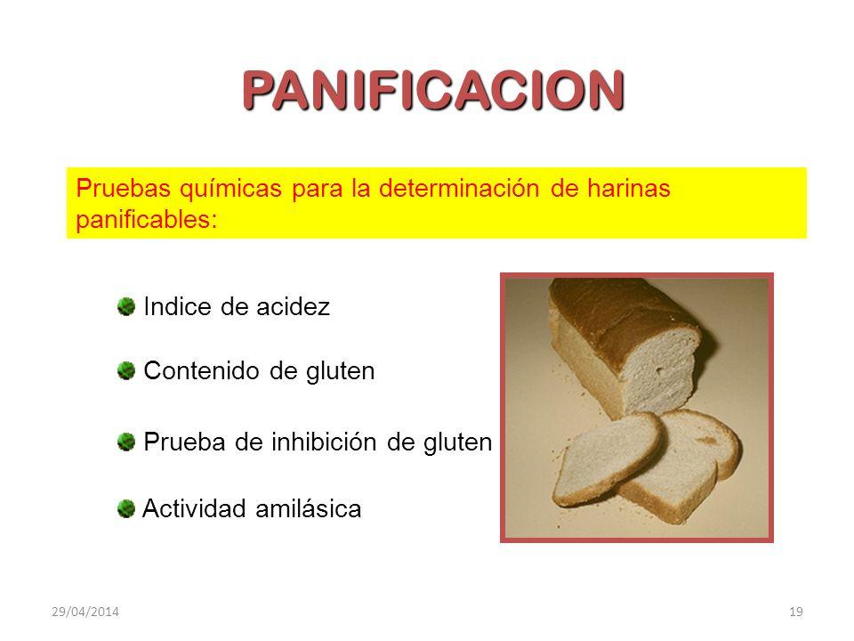 PANIFICACION Pruebas químicas para la determinación de harinas panificables: Indice de acidez Contenido de gluten Prueba de inhibición de gluten Activ