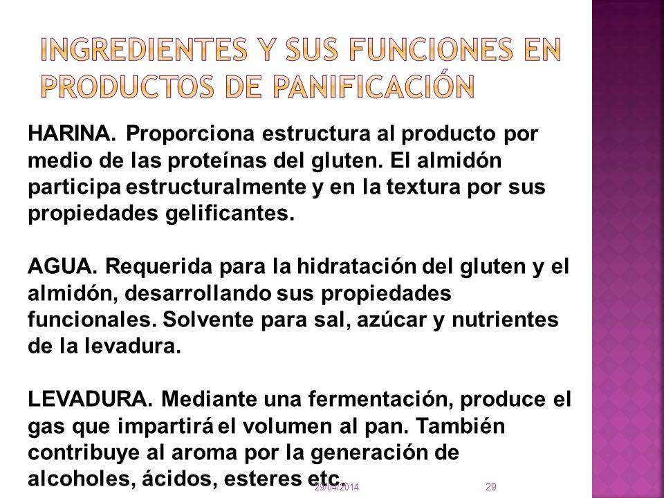 HARINA. Proporciona estructura al producto por medio de las proteínas del gluten. El almidón participa estructuralmente y en la textura por sus propie