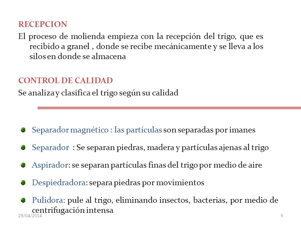 LA CALIDAD DE LA HARINA Extracción.Extracción.
