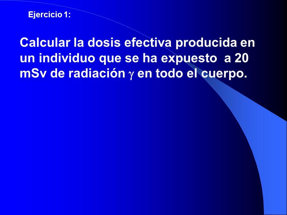 Ejercicio 1: Calcular la dosis efectiva producida en un individuo que se ha expuesto a 20 mSv de radiación en todo el cuerpo.