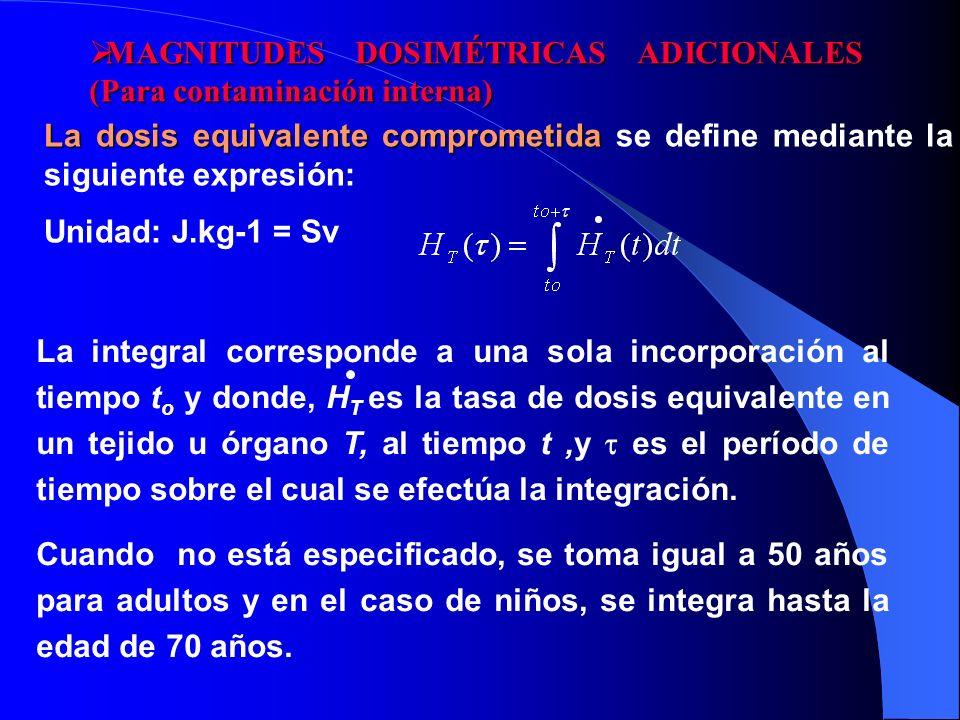 La dosis equivalente comprometida La dosis equivalente comprometida se define mediante la siguiente expresión: Unidad: J.kg-1 = Sv La integral corresp