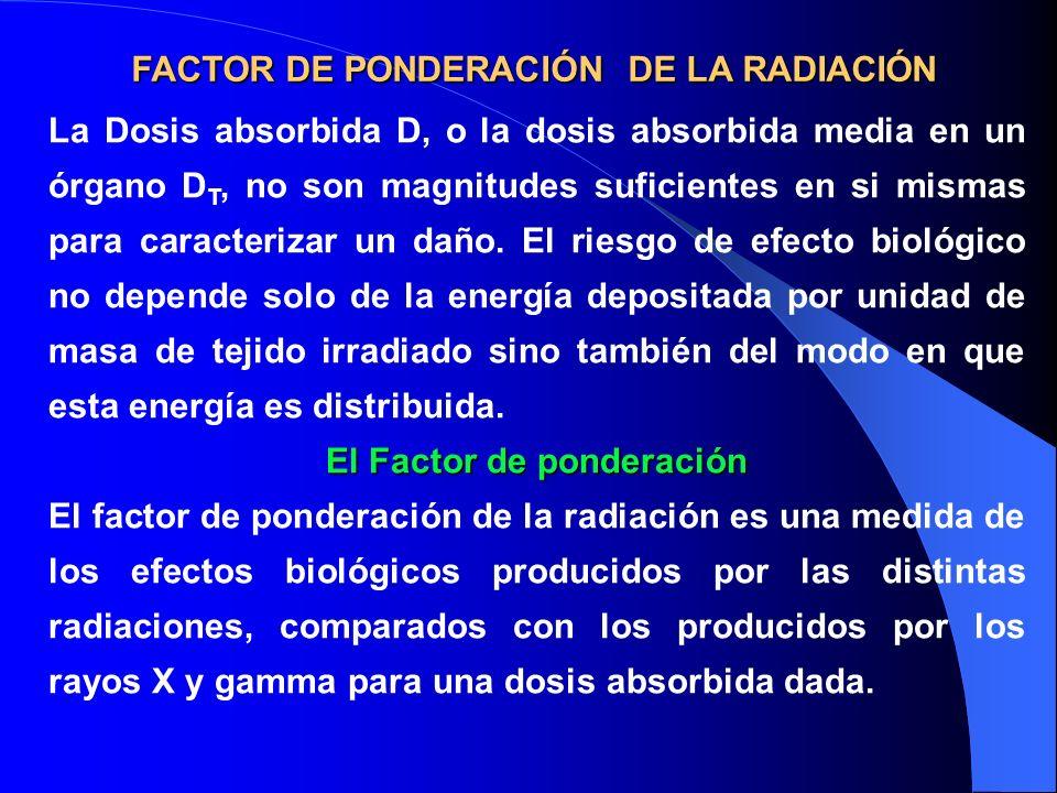 FACTOR DE PONDERACIÓN DE LA RADIACIÓN La Dosis absorbida D, o la dosis absorbida media en un órgano D T, no son magnitudes suficientes en si mismas pa