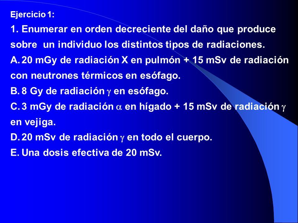 Ejercicio 1: 1.Enumerar en orden decreciente del daño que produce sobre un individuo los distintos tipos de radiaciones. A.20 mGy de radiación X en pu