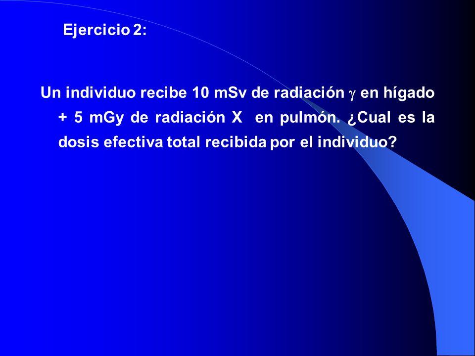Un individuo recibe 10 mSv de radiación en hígado + 5 mGy de radiación X en pulmón. ¿Cual es la dosis efectiva total recibida por el individuo? Ejerci