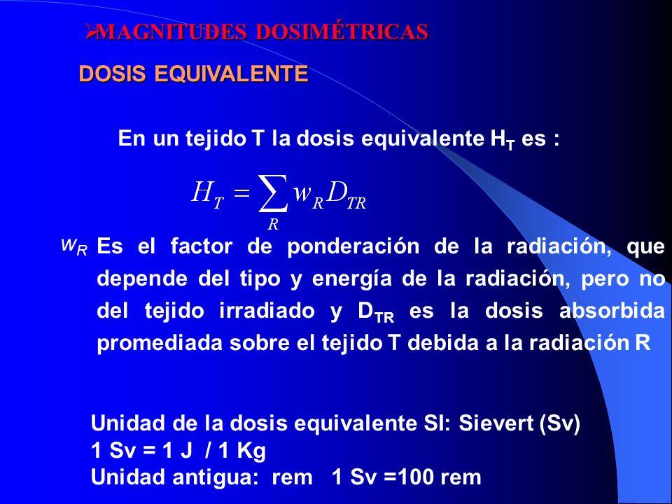 En un tejido T la dosis equivalente H T es : wRwR Es el factor de ponderación de la radiación, que depende del tipo y energía de la radiación, pero no