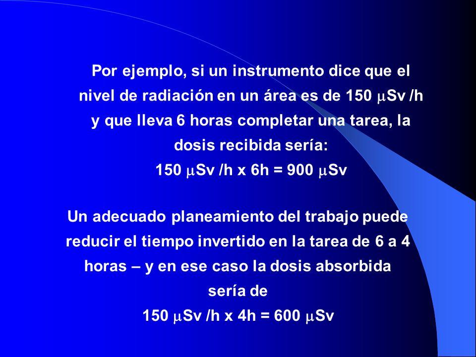 Por ejemplo, si un instrumento dice que el nivel de radiación en un área es de 150 Sv /h y que lleva 6 horas completar una tarea, la dosis recibida se