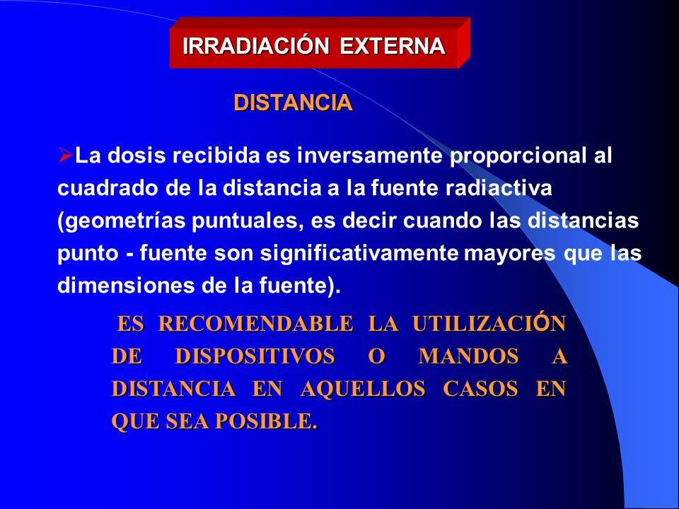 La dosis recibida es inversamente proporcional al cuadrado de la distancia a la fuente radiactiva (geometrías puntuales, es decir cuando las distancia