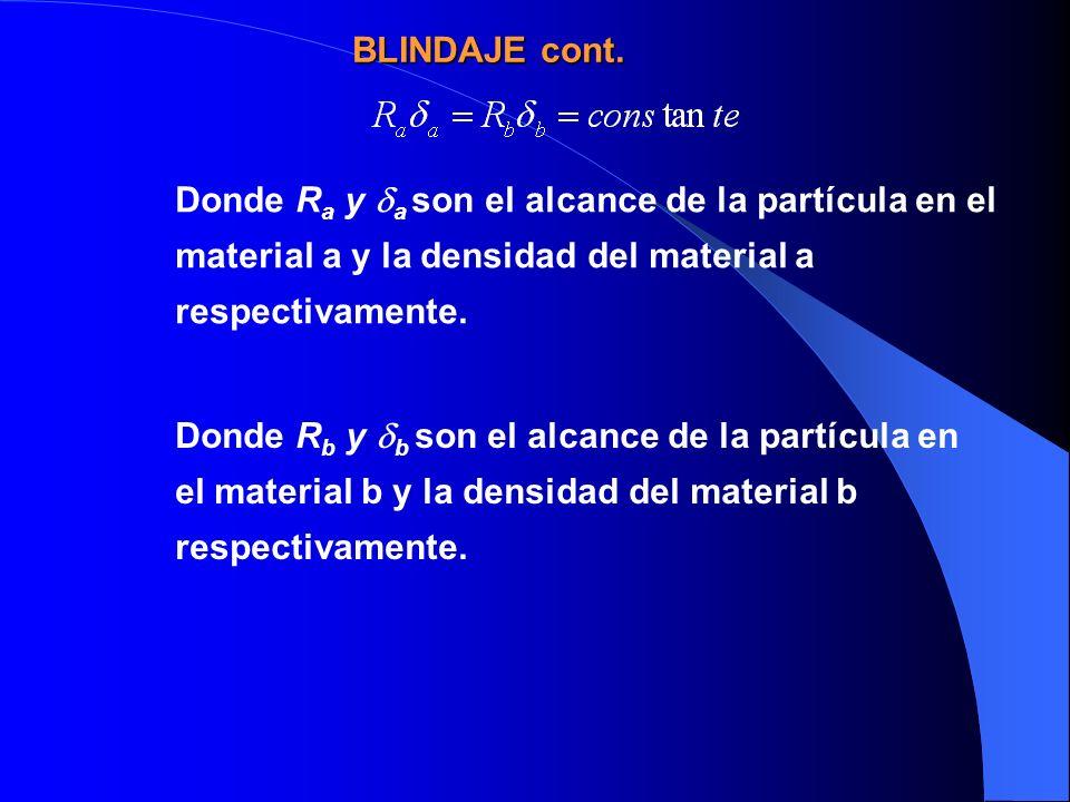 Donde R a y a son el alcance de la partícula en el material a y la densidad del material a respectivamente. Donde R b y b son el alcance de la partícu