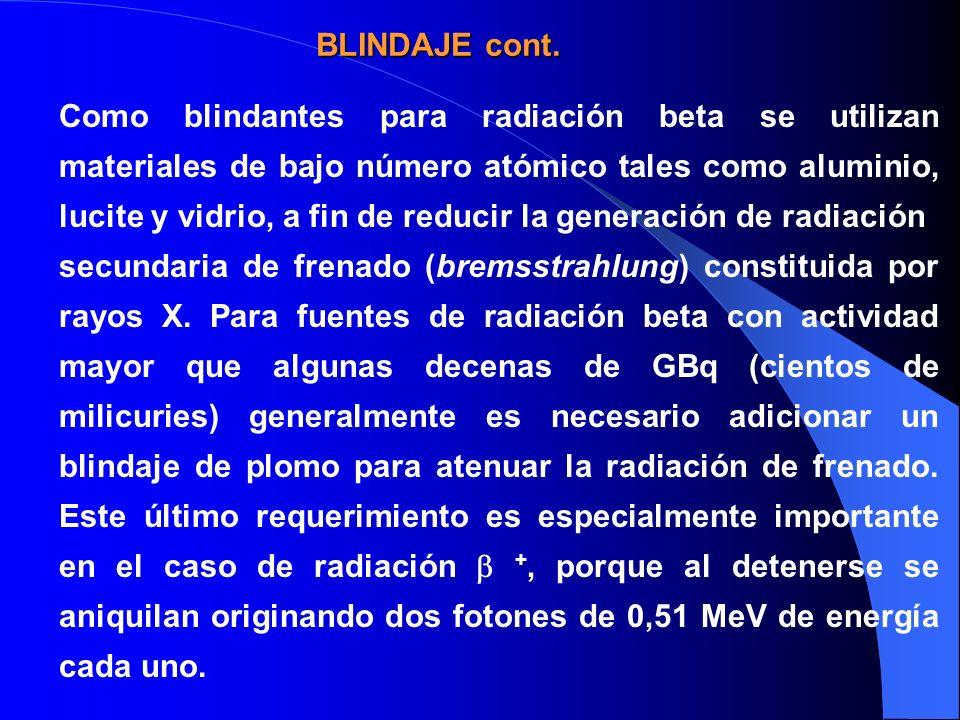 Como blindantes para radiación beta se utilizan materiales de bajo número atómico tales como aluminio, lucite y vidrio, a fin de reducir la generación