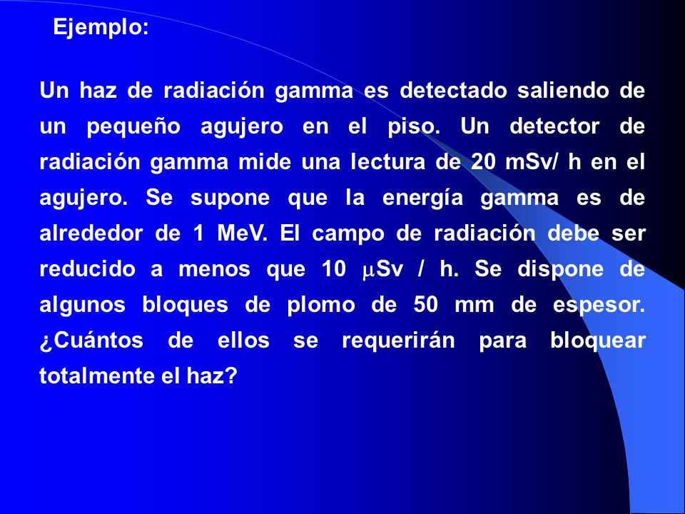 Un haz de radiación gamma es detectado saliendo de un pequeño agujero en el piso. Un detector de radiación gamma mide una lectura de 20 mSv/ h en el a