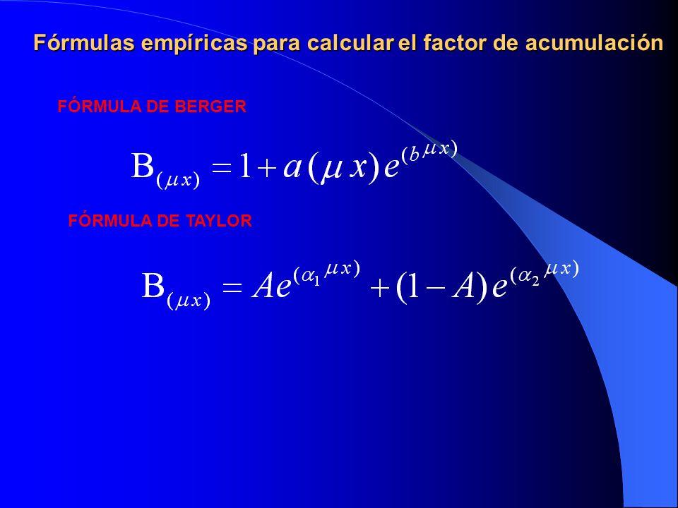 Fórmulas empíricas para calcular el factor de acumulación FÓRMULA DE BERGER FÓRMULA DE TAYLOR