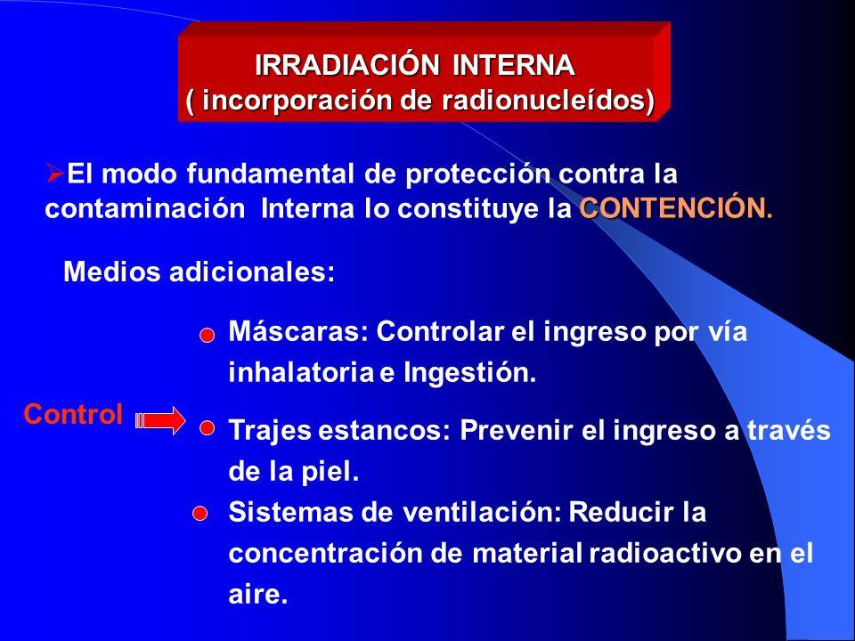 Máscaras: Controlar el ingreso por vía inhalatoria e Ingestión. Trajes estancos: Prevenir el ingreso a través de la piel. Sistemas de ventilación: Red