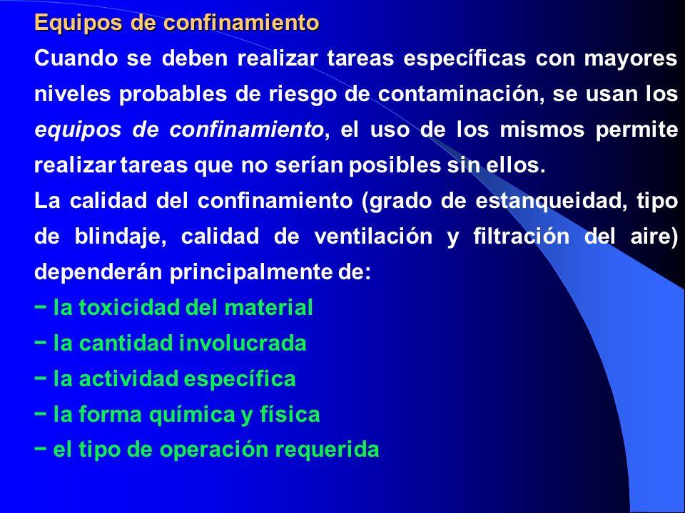 Equipos de confinamiento Cuando se deben realizar tareas específicas con mayores niveles probables de riesgo de contaminación, se usan los equipos de