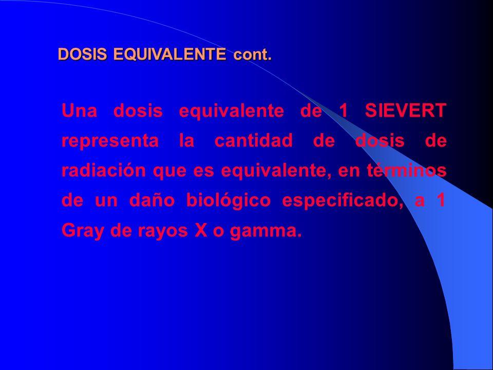 Una dosis equivalente de 1 SIEVERT representa la cantidad de dosis de radiación que es equivalente, en términos de un daño biológico especificado, a 1