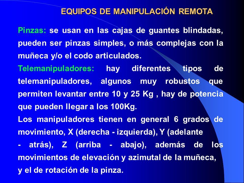 EQUIPOSDE MANIPULACIÓN REMOTA EQUIPOS DE MANIPULACIÓN REMOTA Pinzas: se usan en las cajas de guantes blindadas, pueden ser pinzas simples, o más compl