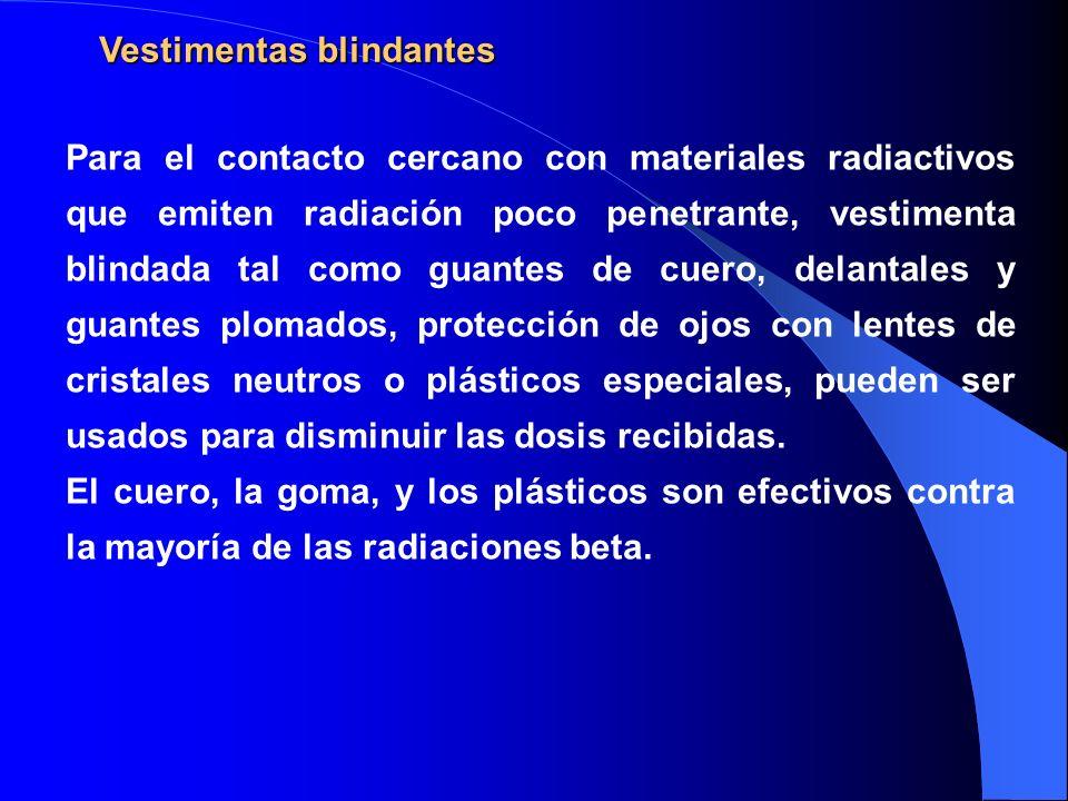Vestimentas blindantes Para el contacto cercano con materiales radiactivos que emiten radiación poco penetrante, vestimenta blindada tal como guantes