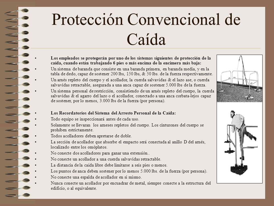 Protección Convencional de Caída Los empleados se protegerán por uno de los sistemas siguientes de protección de la caída, cuando están trabajando 6 p