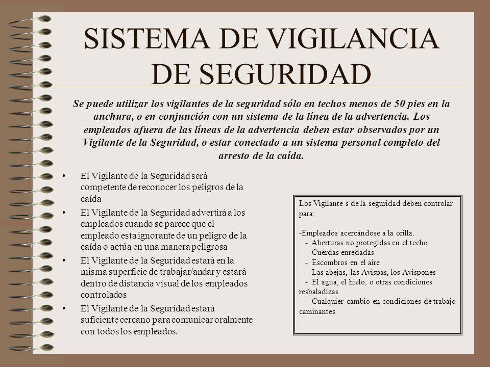 SISTEMA DE VIGILANCIA DE SEGURIDAD El Vigilante de la Seguridad será competente de reconocer los peligros de la caída El Vigilante de la Seguridad adv