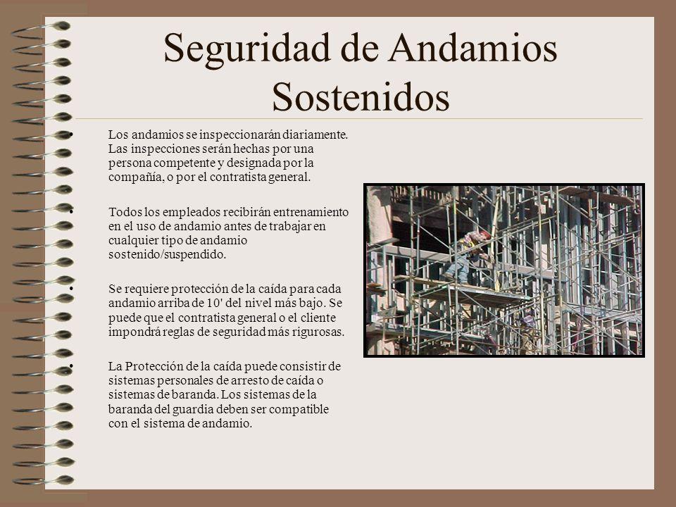 Seguridad de Andamios Sostenidos Los andamios se inspeccionarán diariamente. Las inspecciones serán hechas por una persona competente y designada por