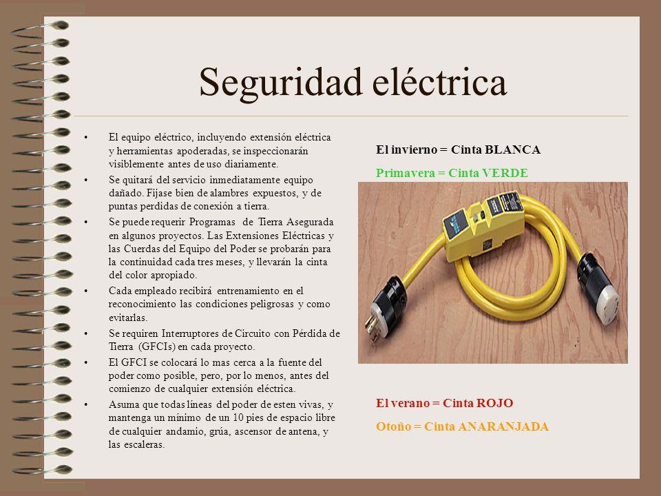 Seguridad eléctrica El equipo eléctrico, incluyendo extensión eléctrica y herramientas apoderadas, se inspeccionarán visiblemente antes de uso diariamente.