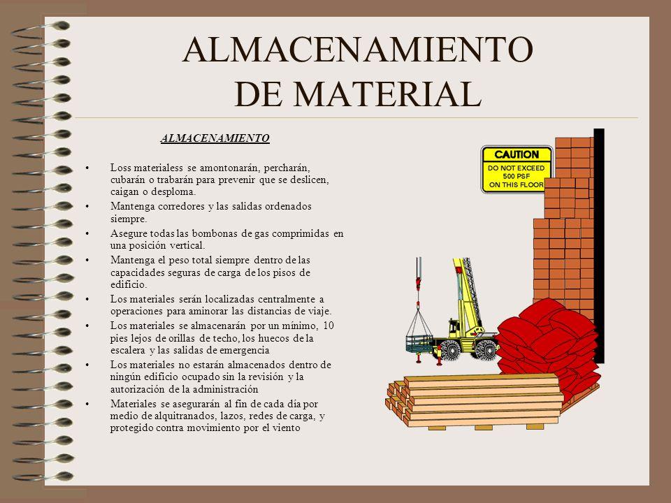 ALMACENAMIENTO DE MATERIAL ALMACENAMIENTO Loss materialess se amontonarán, percharán, cubarán o trabarán para prevenir que se deslicen, caigan o desploma.