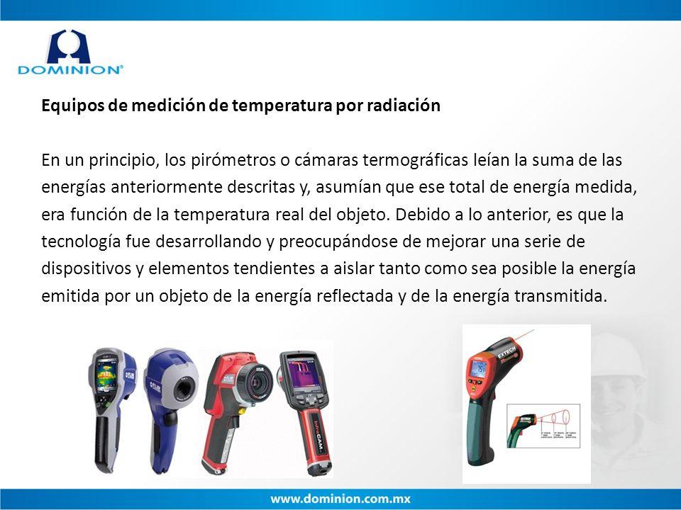 Equipos de medición de temperatura por radiación En un principio, los pirómetros o cámaras termográficas leían la suma de las energías anteriormente d