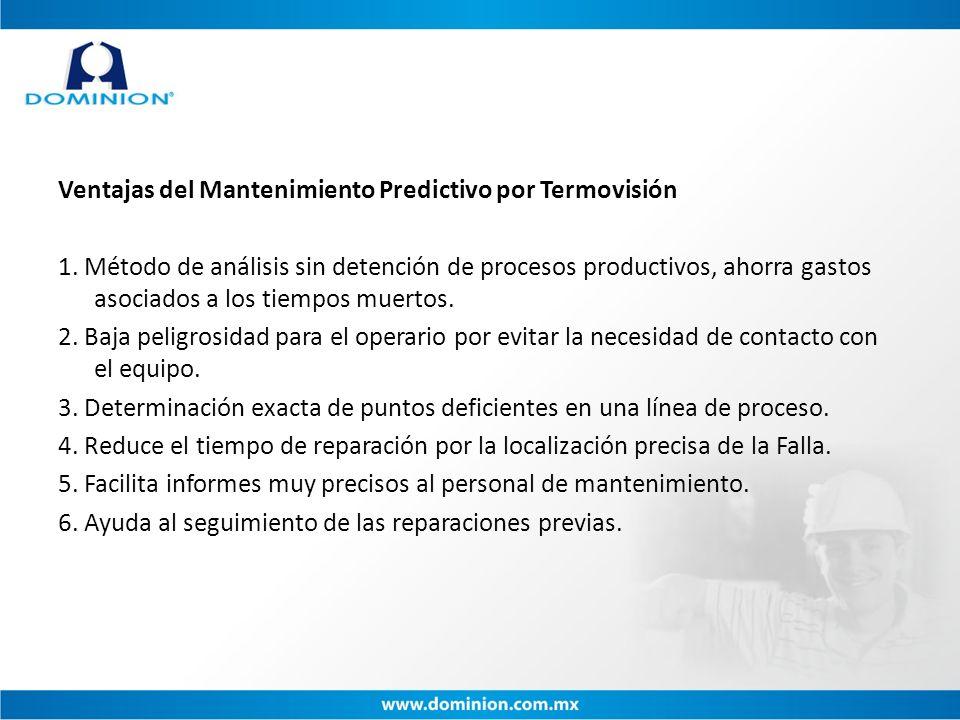 Ventajas del Mantenimiento Predictivo por Termovisión 1. Método de análisis sin detención de procesos productivos, ahorra gastos asociados a los tiemp
