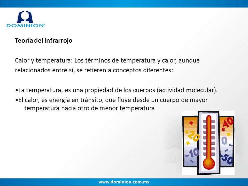 Teoría del infrarrojo Calor y temperatura: Los términos de temperatura y calor, aunque relacionados entre sí, se refieren a conceptos diferentes: La t