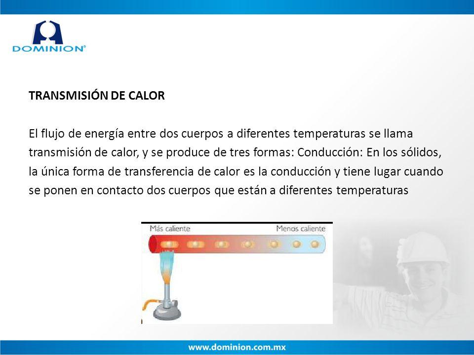 TRANSMISIÓN DE CALOR El flujo de energía entre dos cuerpos a diferentes temperaturas se llama transmisión de calor, y se produce de tres formas: Condu
