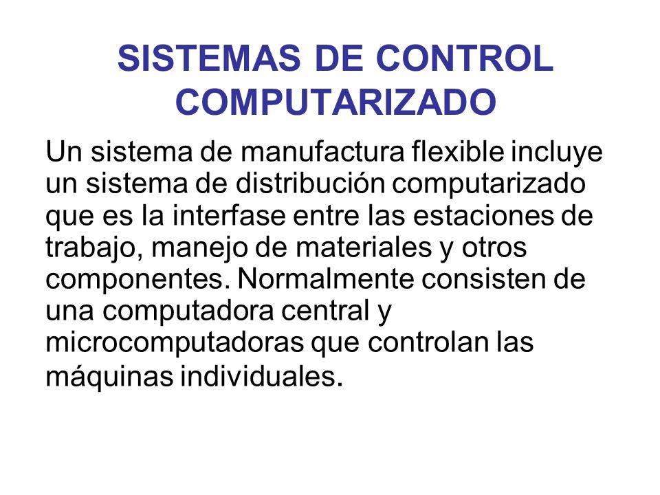 SISTEMAS DE CONTROL COMPUTARIZADO Un sistema de manufactura flexible incluye un sistema de distribución computarizado que es la interfase entre las es