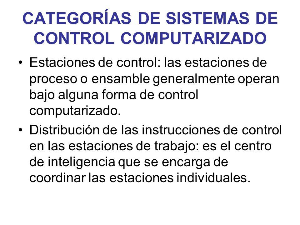 CATEGORÍAS DE SISTEMAS DE CONTROL COMPUTARIZADO Estaciones de control: las estaciones de proceso o ensamble generalmente operan bajo alguna forma de c