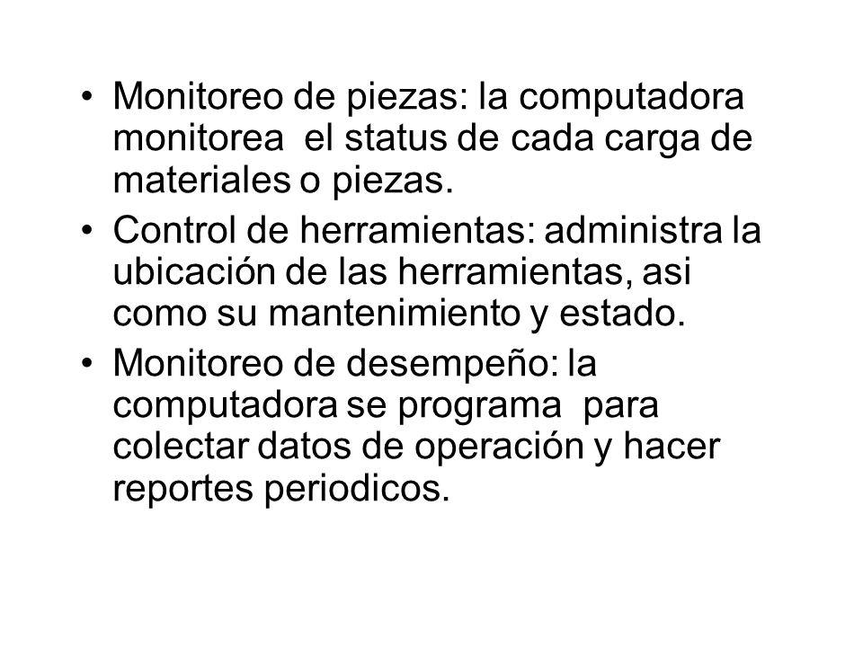 Monitoreo de piezas: la computadora monitorea el status de cada carga de materiales o piezas. Control de herramientas: administra la ubicación de las