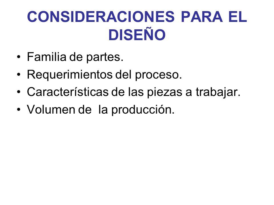 CONSIDERACIONES PARA EL DISEÑO Familia de partes. Requerimientos del proceso. Características de las piezas a trabajar. Volumen de la producción.