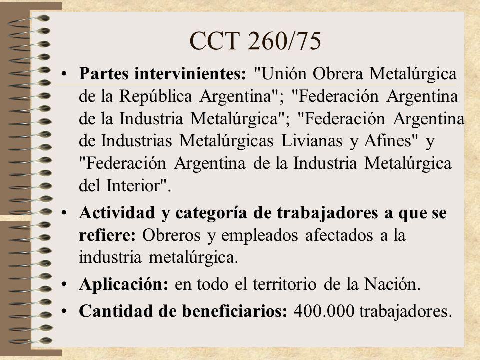 METALURGICOS CONVENIO COLECTIVO 260/75 U.O.M.R.A.