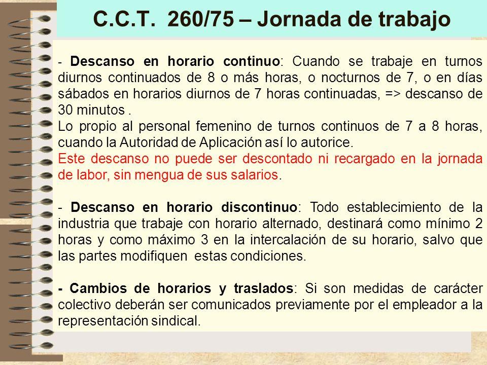 C.C.T. 260/75 – reemplazo