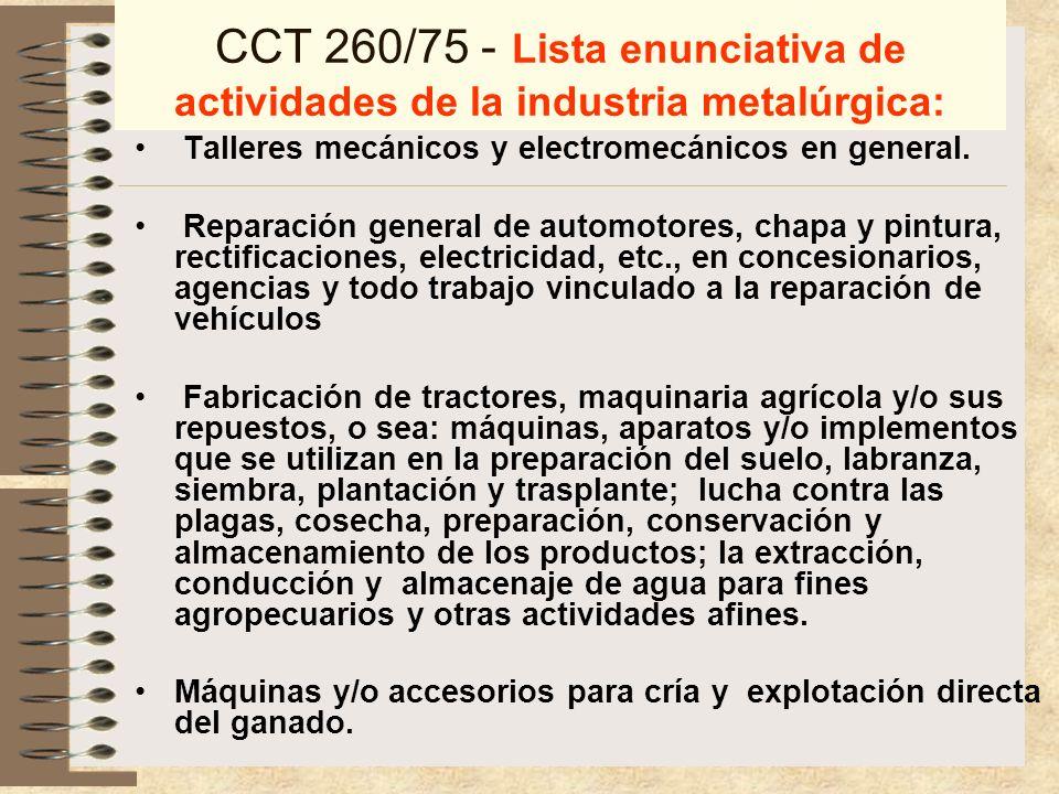CCT 260/75 Aplicación al personal de las diferentes ramas de la actividad metalúrgica, contempladas en la presente.